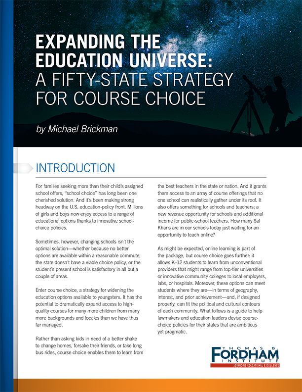 Fordham Institute Course Choice Publication
