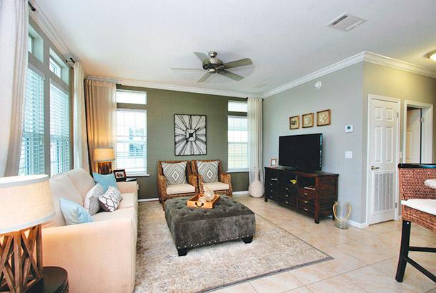 Ocean Breeze Home Sale Sand Dollar Model Living Room View