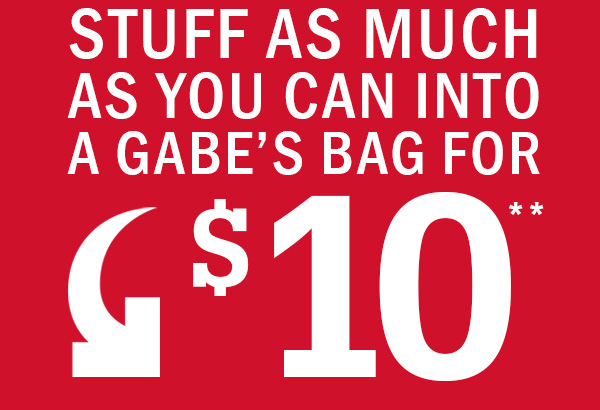 Stuff As Much As You Can Into A Gabe's Bag For $10**