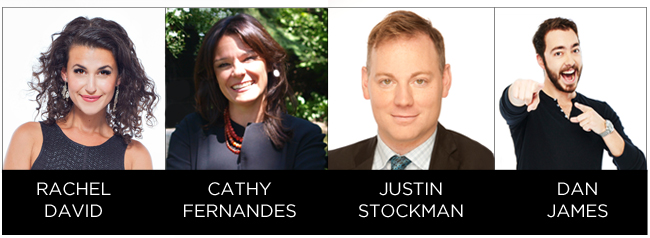Pictures of Social Content Creators - Rachel David, Cathy Fernandes, Justin Stockman & Dan James