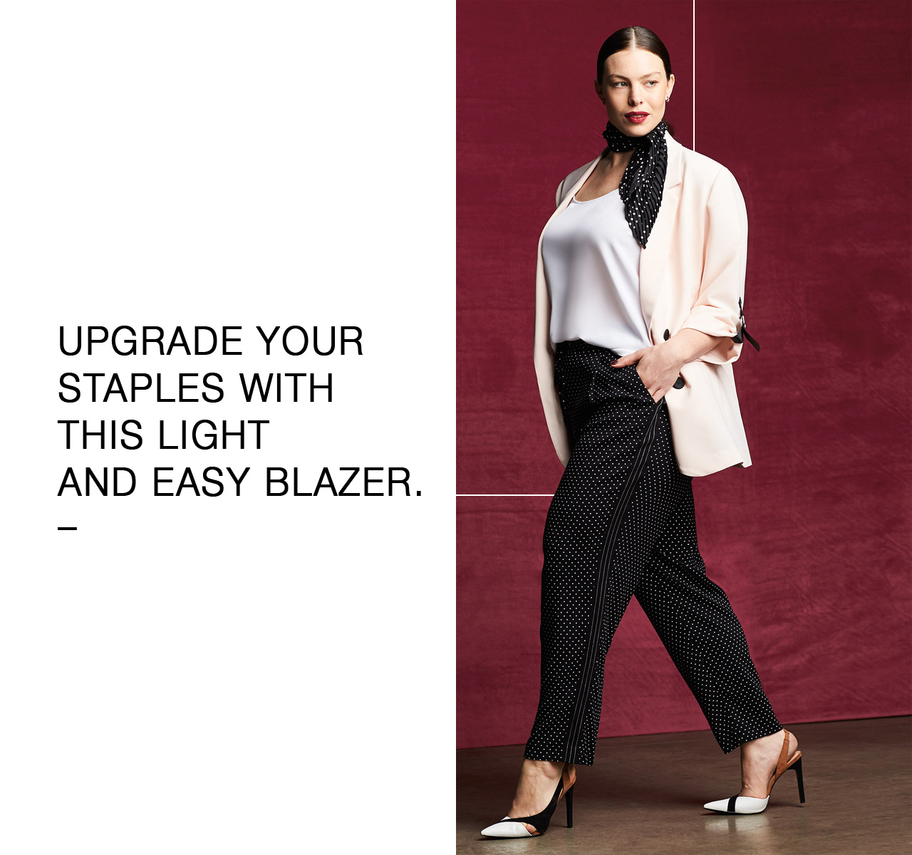 Upgrade your staples with this light and easy blazer.