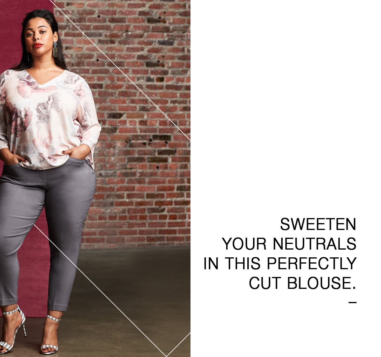 Sweeten your neutrals in this perfectly cut blouse.