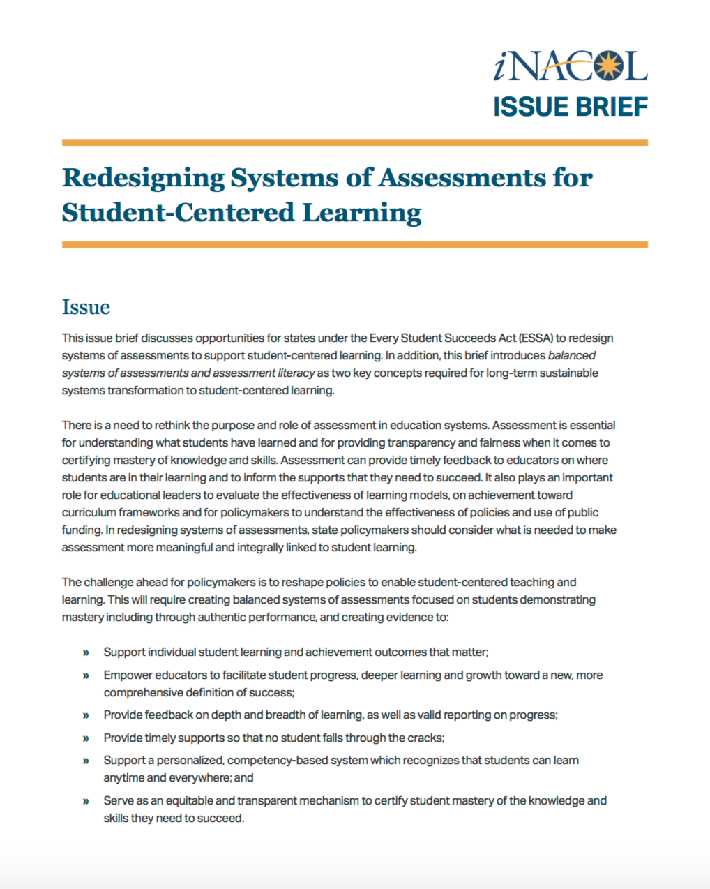 Redesigning Systems of Assessments